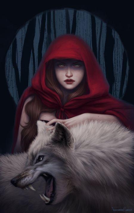 fernanda suarez ilustrações fantasia mulheres Lobo e chapéu vermelho