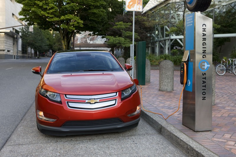 Chevrolet Electric Car while charging front view