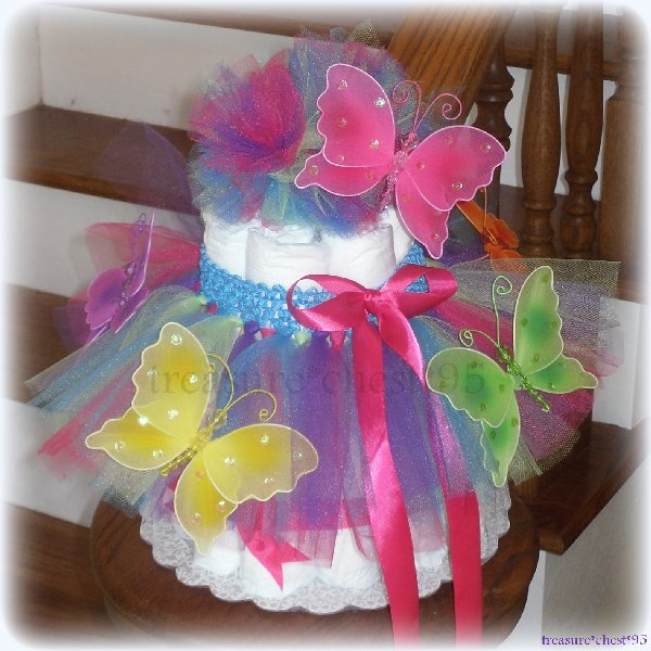 Butterfly tutu diaper cake baby shower centerpiece spring for Baby shower decoration butterfly