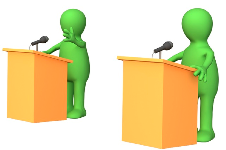 Två parter som debatterar mot varandra