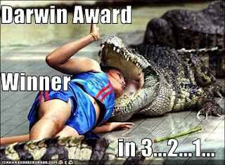 about to be a Darwin Award winner (woman with head in croc's mouth)