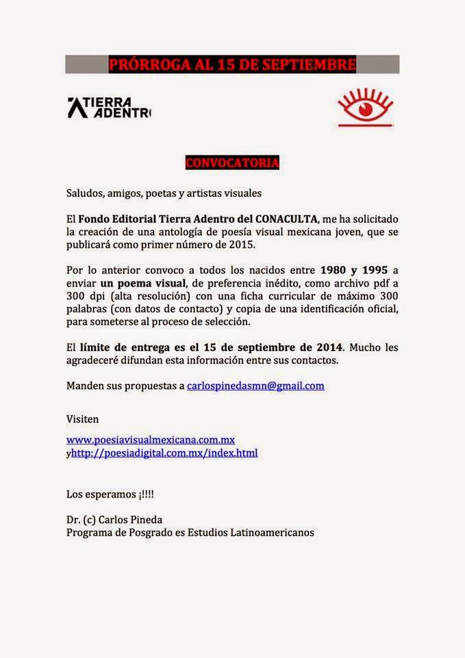 Convocatoria para participar en la Antología Poesía Visual Mexicana