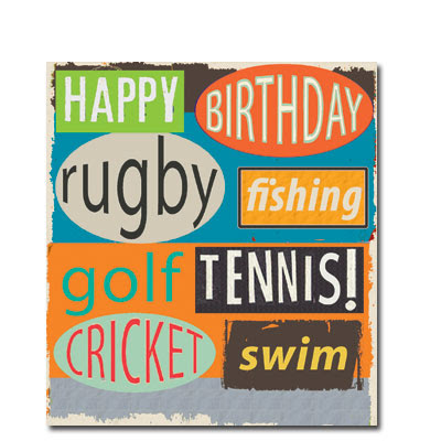 rugby fishing golf tennis cricket swim men's cards liz and pip ltd