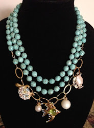 Necklace of the Month-Beachy Erin with vintage turtle, fish, and crab