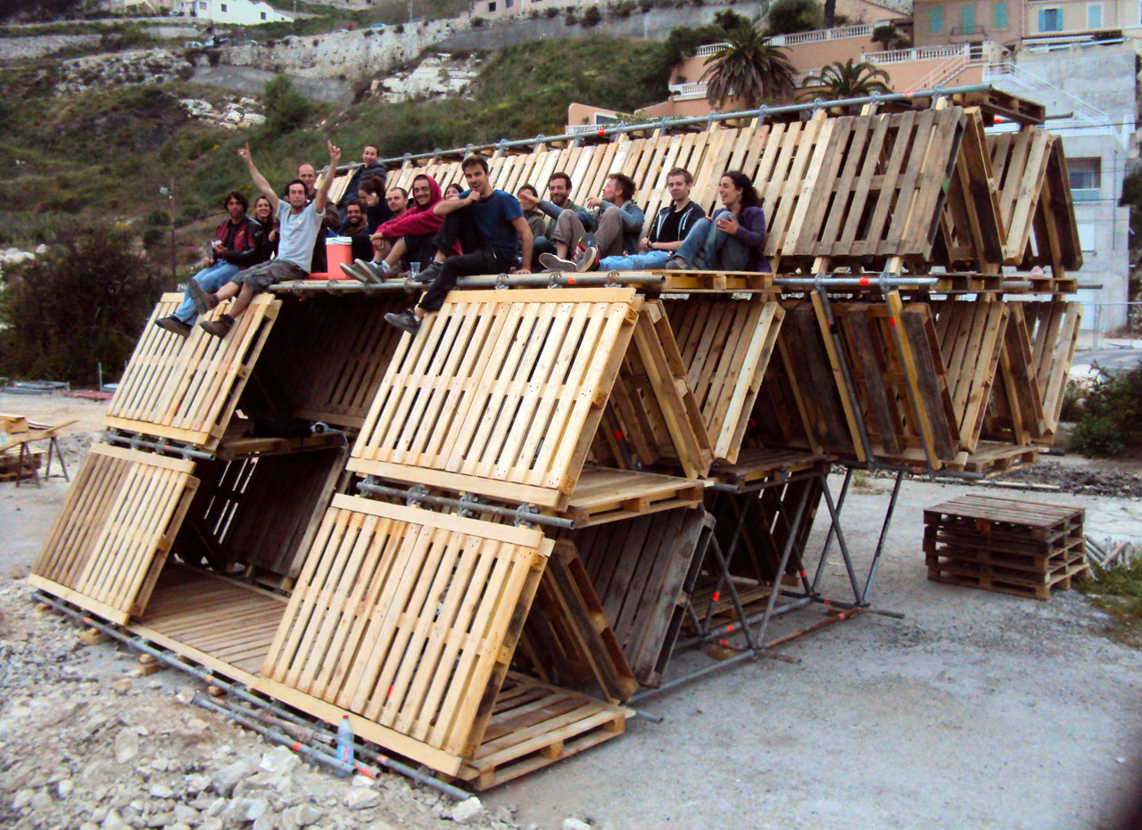 Temporary Outdoor Structures Built Entirely From Reclaimed