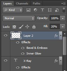 text efek photoshop, xray teks