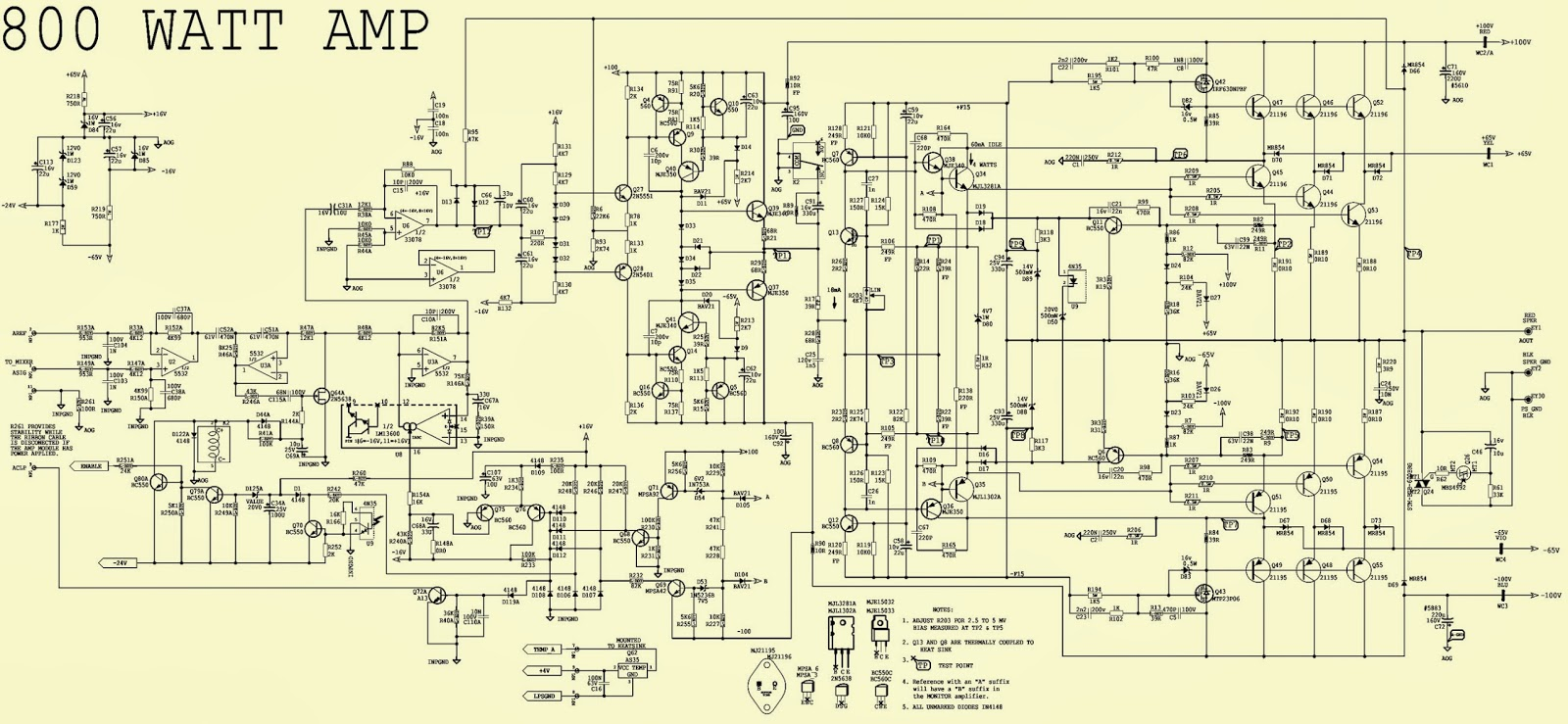 Schematic Diagram Of Sakura Amplifier 700w Power With 2sc5200 2sa1943 Draw Your Wiring 800watts Circuit