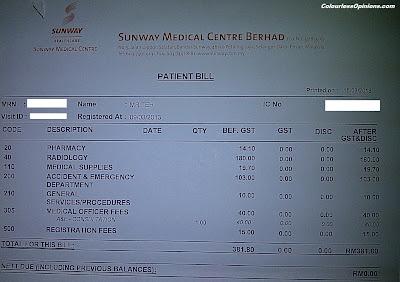 Sunway Medical Centre bill receipt