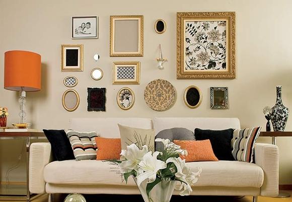 Aparador Sofa Em L ~ Como usar quadros com o sofá Morando Sozinha
