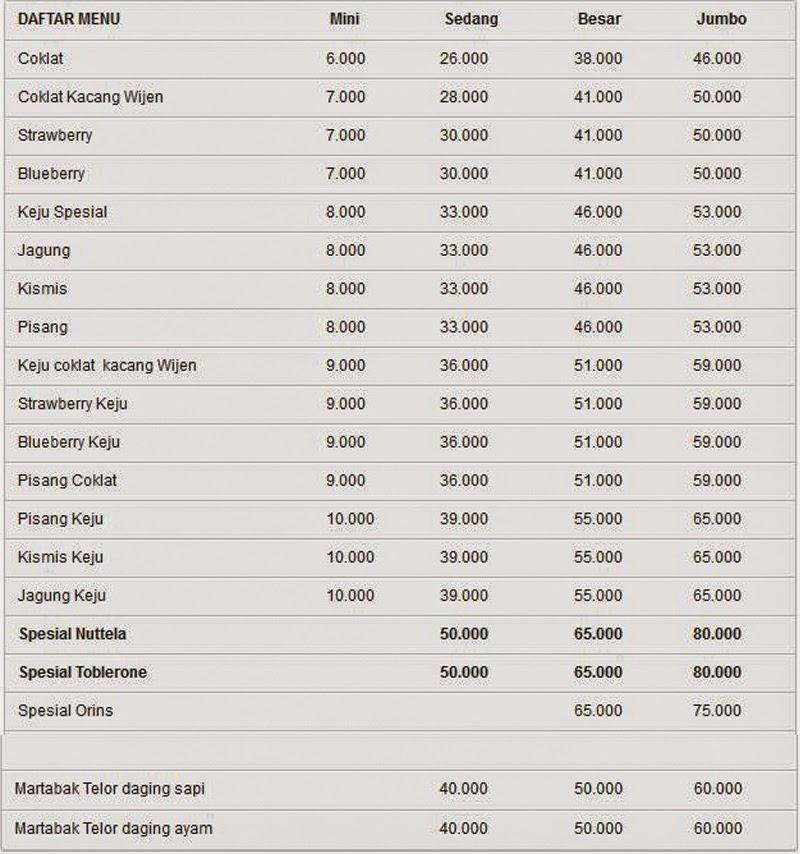 daftar harga martabak