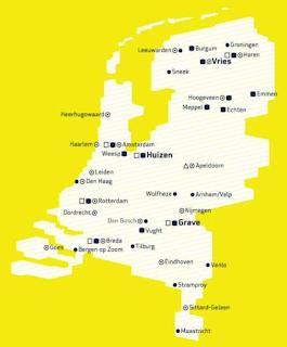Imagem do mapa dos Países Baixo, mostrando a localização dos 17 centros da VISIO, espalhados pelo país