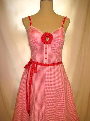 50s Vintage Inspired Polka Dot Women's  Strap Dress Embellished, Madman Style