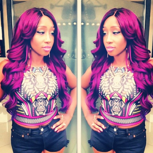 Victoria Kimani Rocks Purple Hair