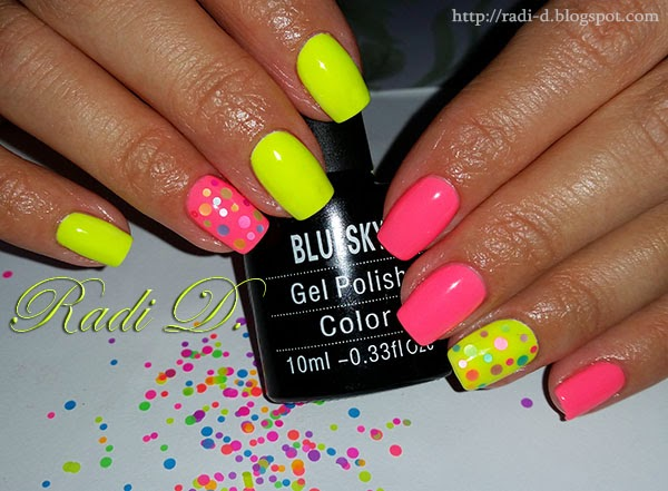 It`s all about nails: Neon gel polish with colorful circles from ...