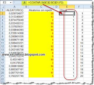 Aleatorios sin repetición en Excel, sin macros.