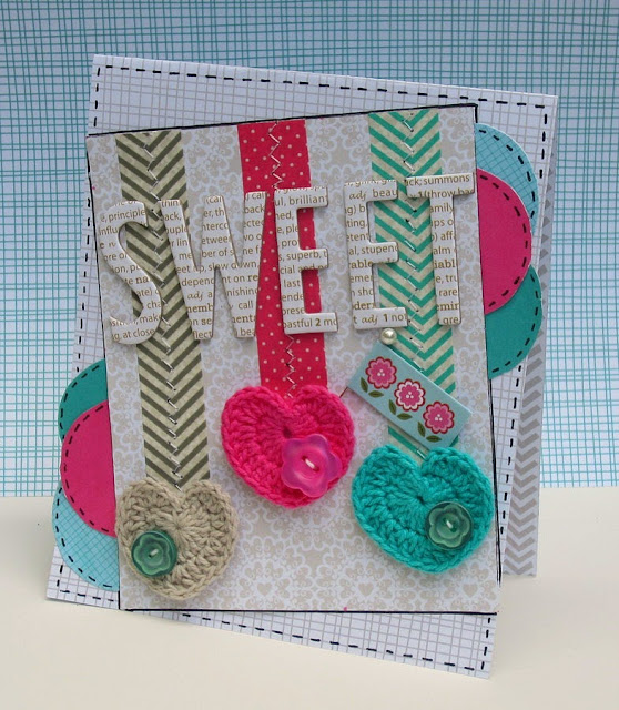 Bella Blvd card by Christine Meyer using crochet hearts