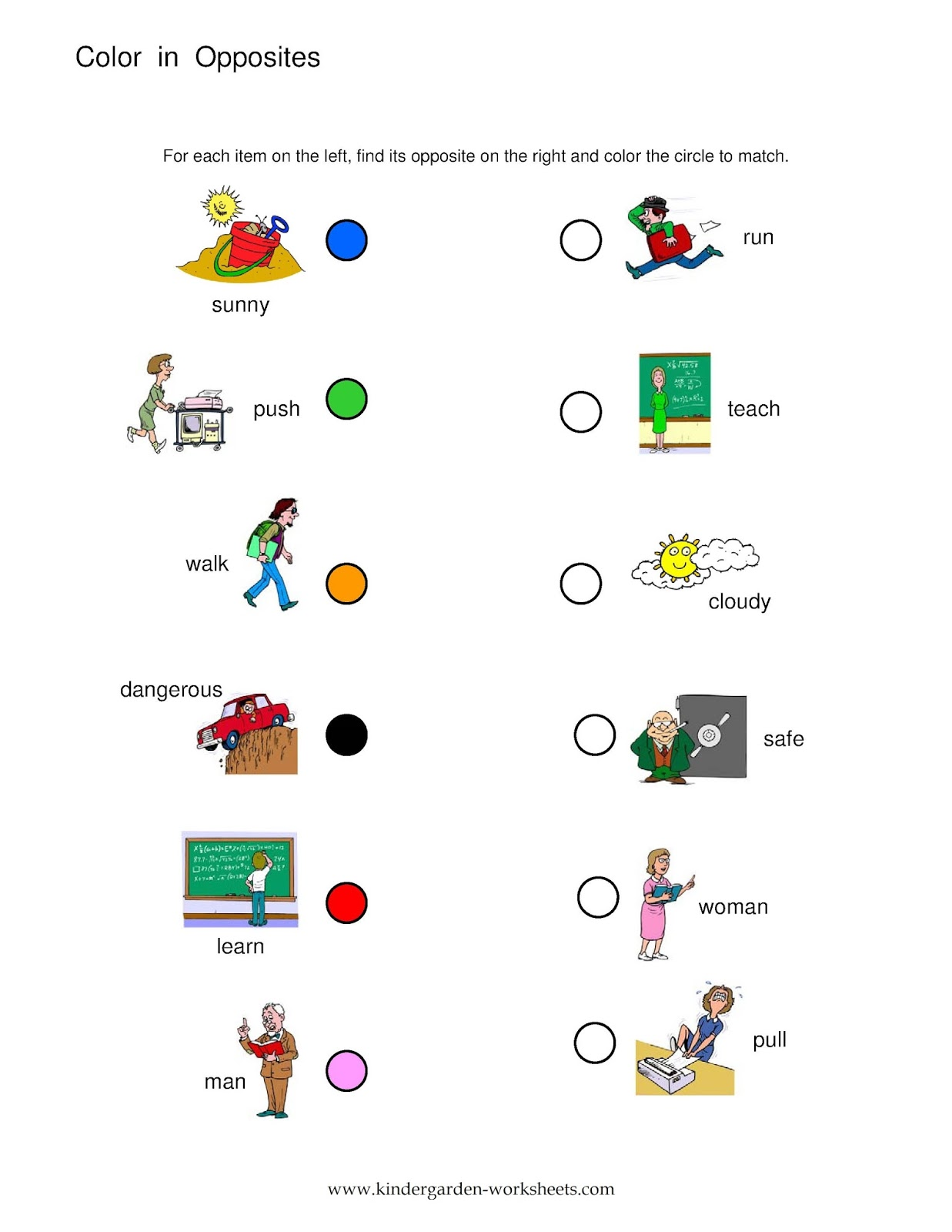 worksheet Push And Pull Worksheets For Kindergarten kindergarten worksheets opposite words these opposites are slightly more advanced as the mismatched your child becomes familiar with opposites