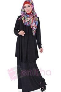 Zenitha Gamis Zn108 - Hitam (Toko Jilbab dan Busana Muslimah Terbaru)