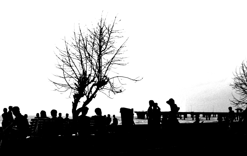 Silhouette of people sitting on a bench