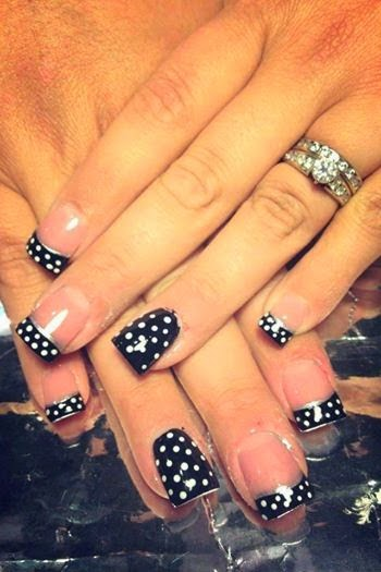 Acrylic sculpts + LED polish dotty manicure with silver smiles