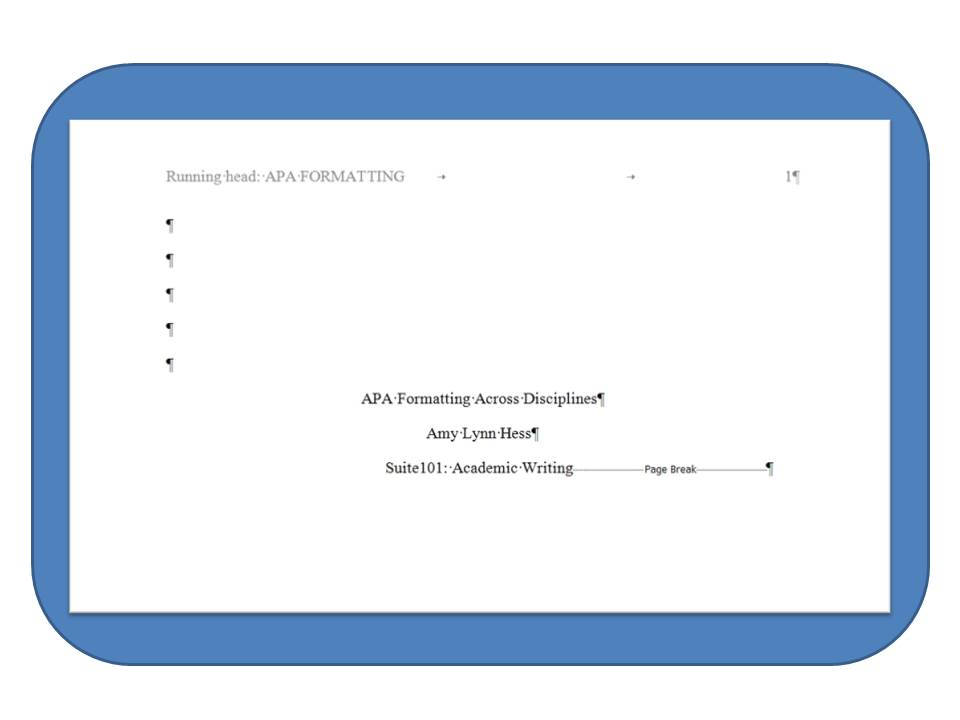 how to do a title page in apa format
