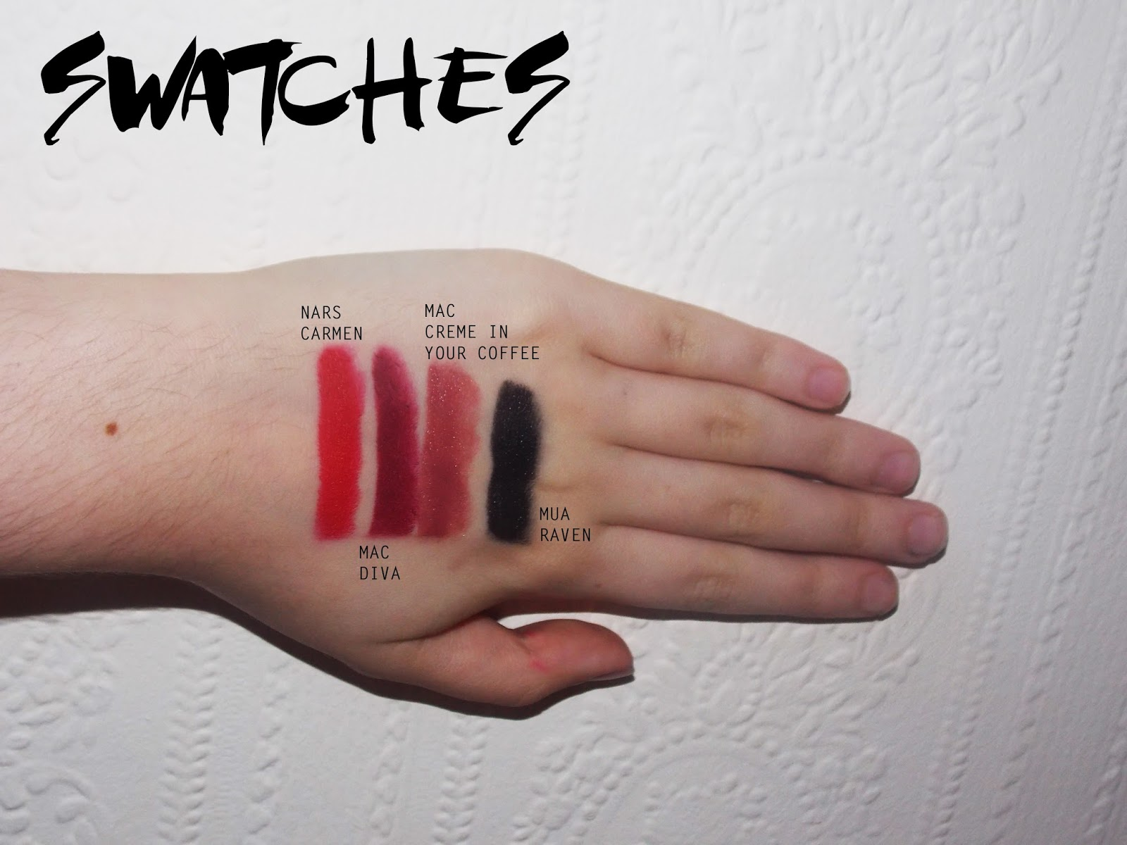Autumn lipstick swatches