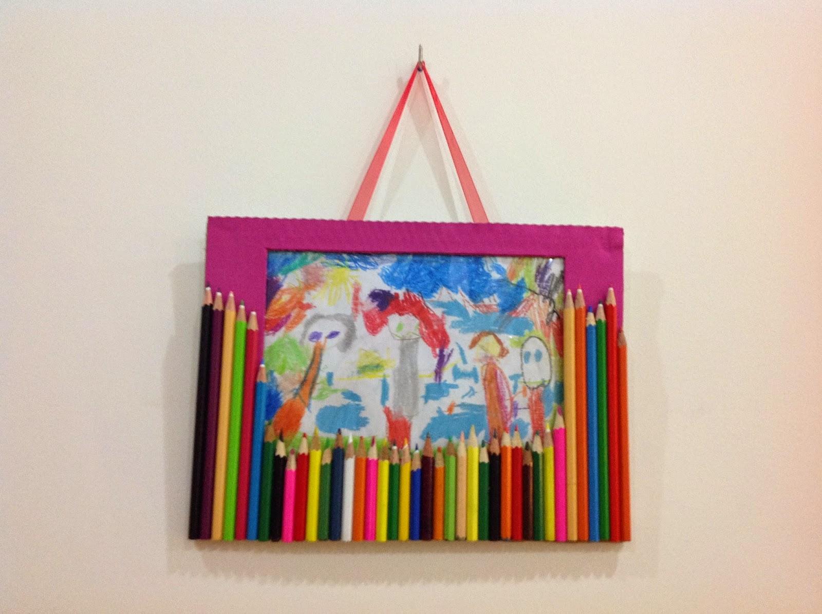 coloring pencils photo frame, tutorial, kids