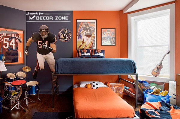 15 boys room decorating ideas and tips from experts for Football bedroom decorating ideas