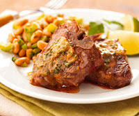 Lamb Chops and Beans with Chile Butter