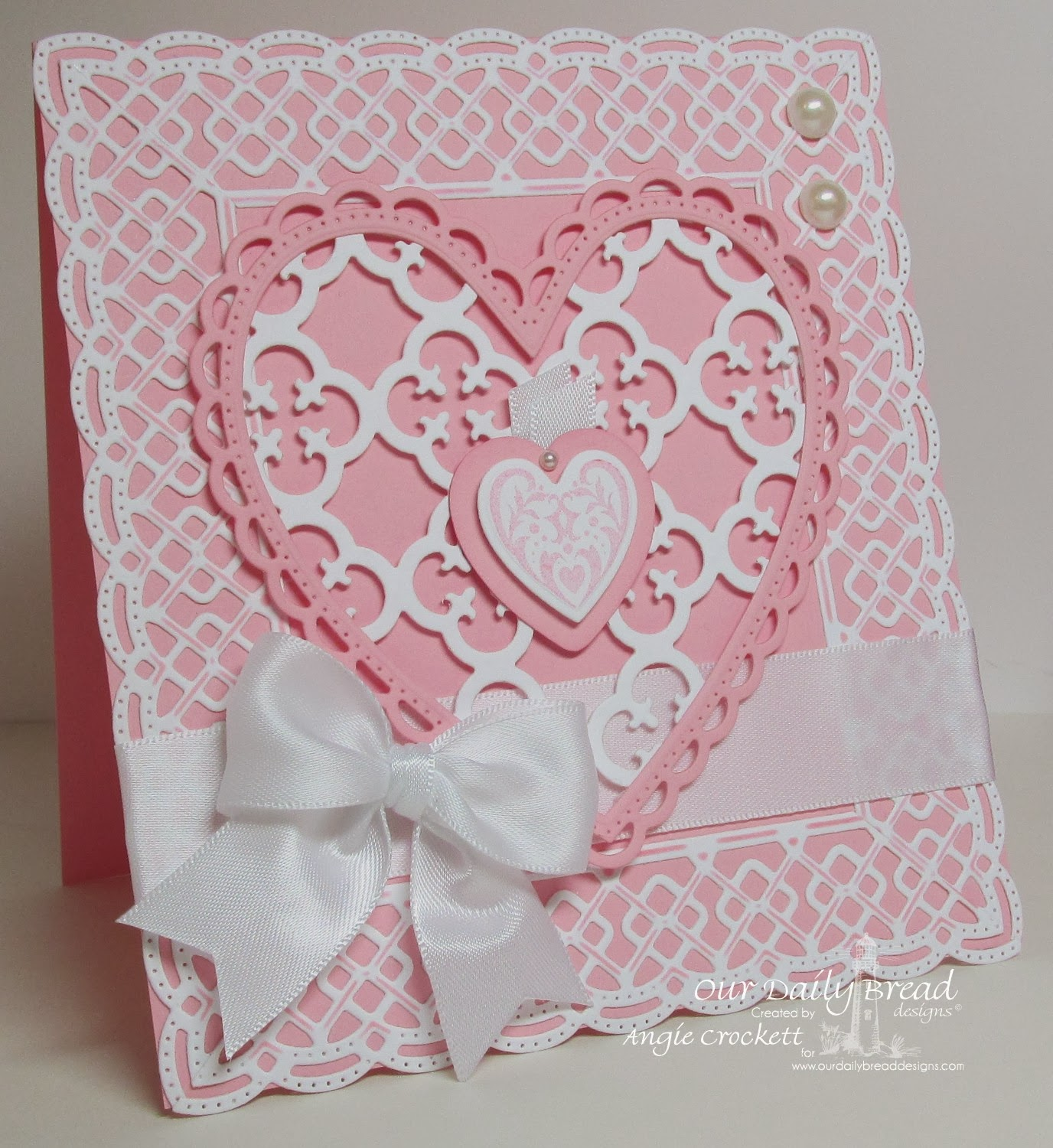 ODBD Custom Ornate Hearts Die Set, ODBD Custom Beautiful Borders Die Set, ODBD Quatrefoil Pattern Die, Bless Your Heart Stamp set, Card Designer Angie Crockett