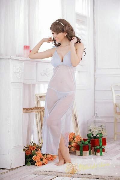 lingerie transparang long dress sl1064