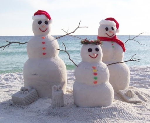 sand snow man at the beach in Seaside FL