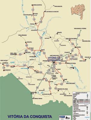 Mapa da região de Vitória da Conquista - Bahia