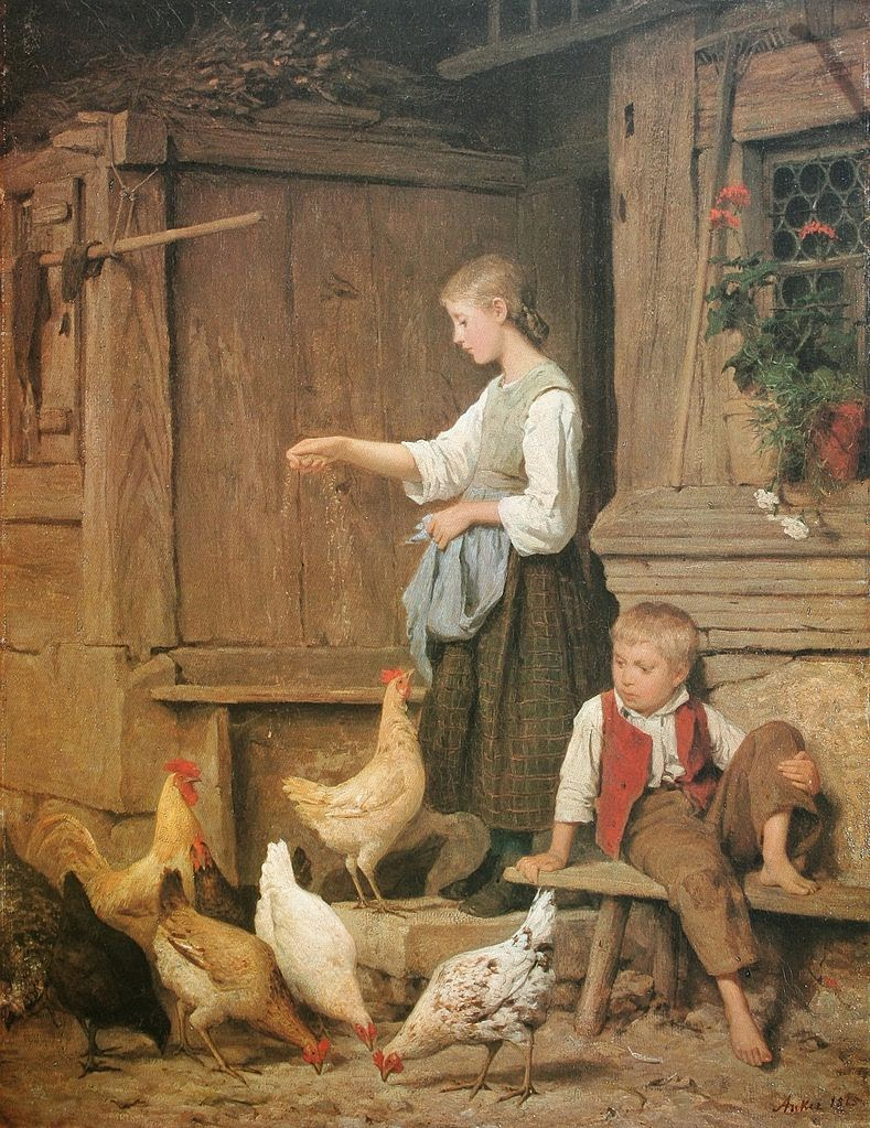 albert anker, feeding chickens, paintings review