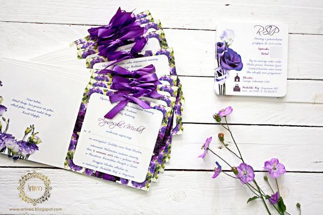 Fioletowe zaproszenia ślubne artirea