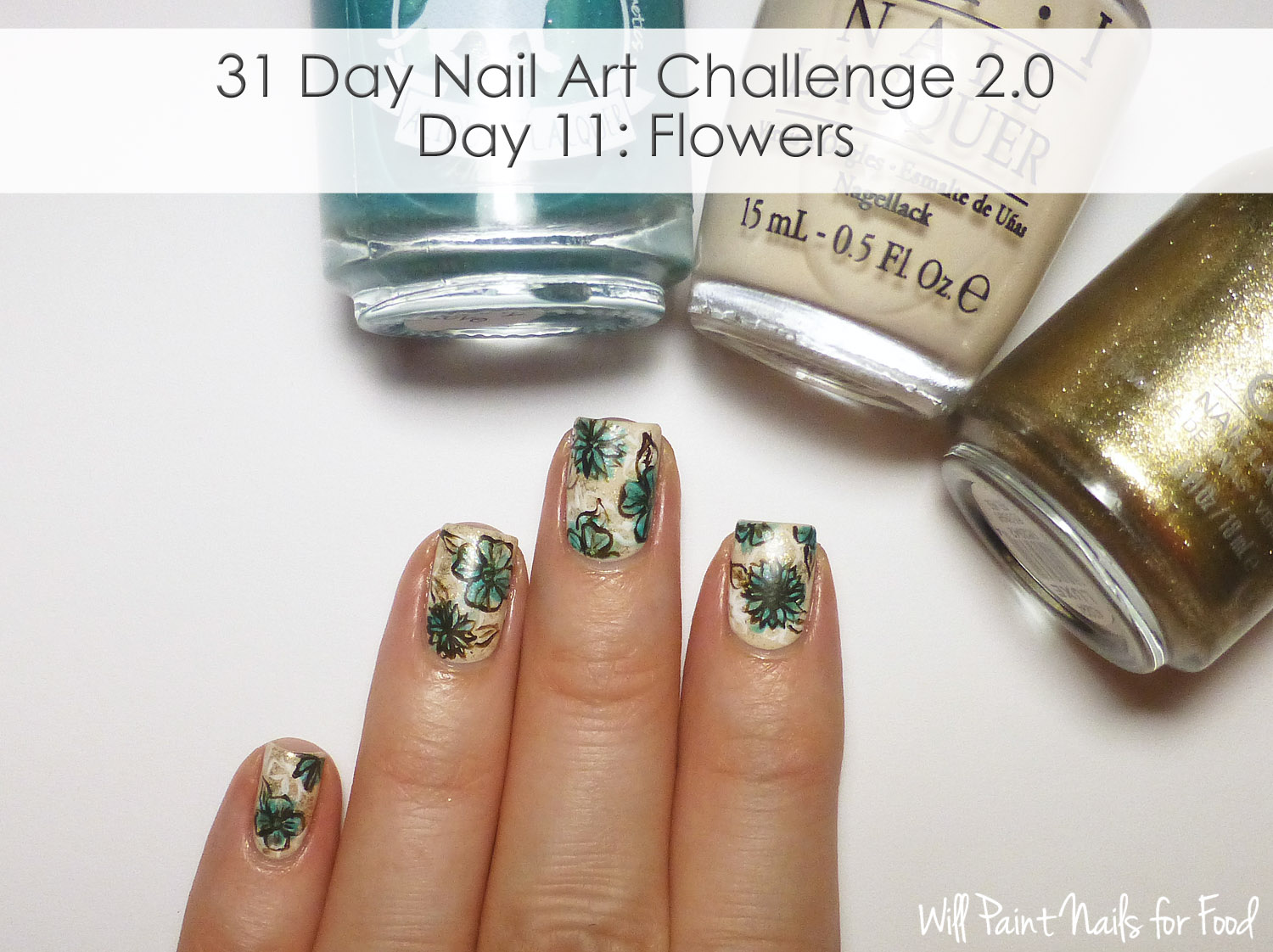 Vintage-inspired freehand floral nail art