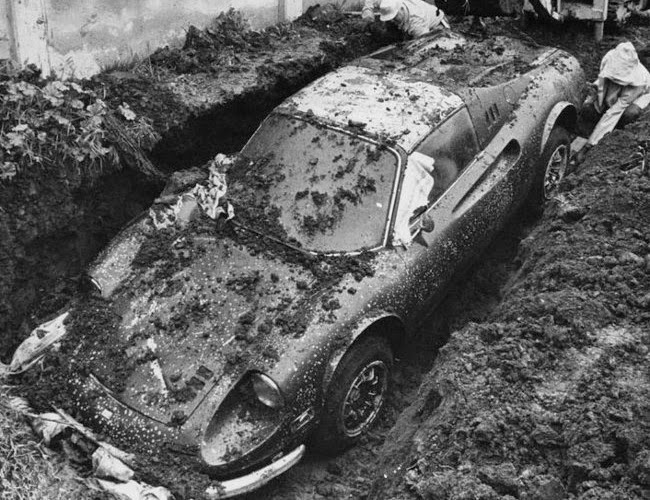 http://jalopnik.com/5872514/the-true-story-of-how-a-ferrari-ended-up-buried-in-someones-yard