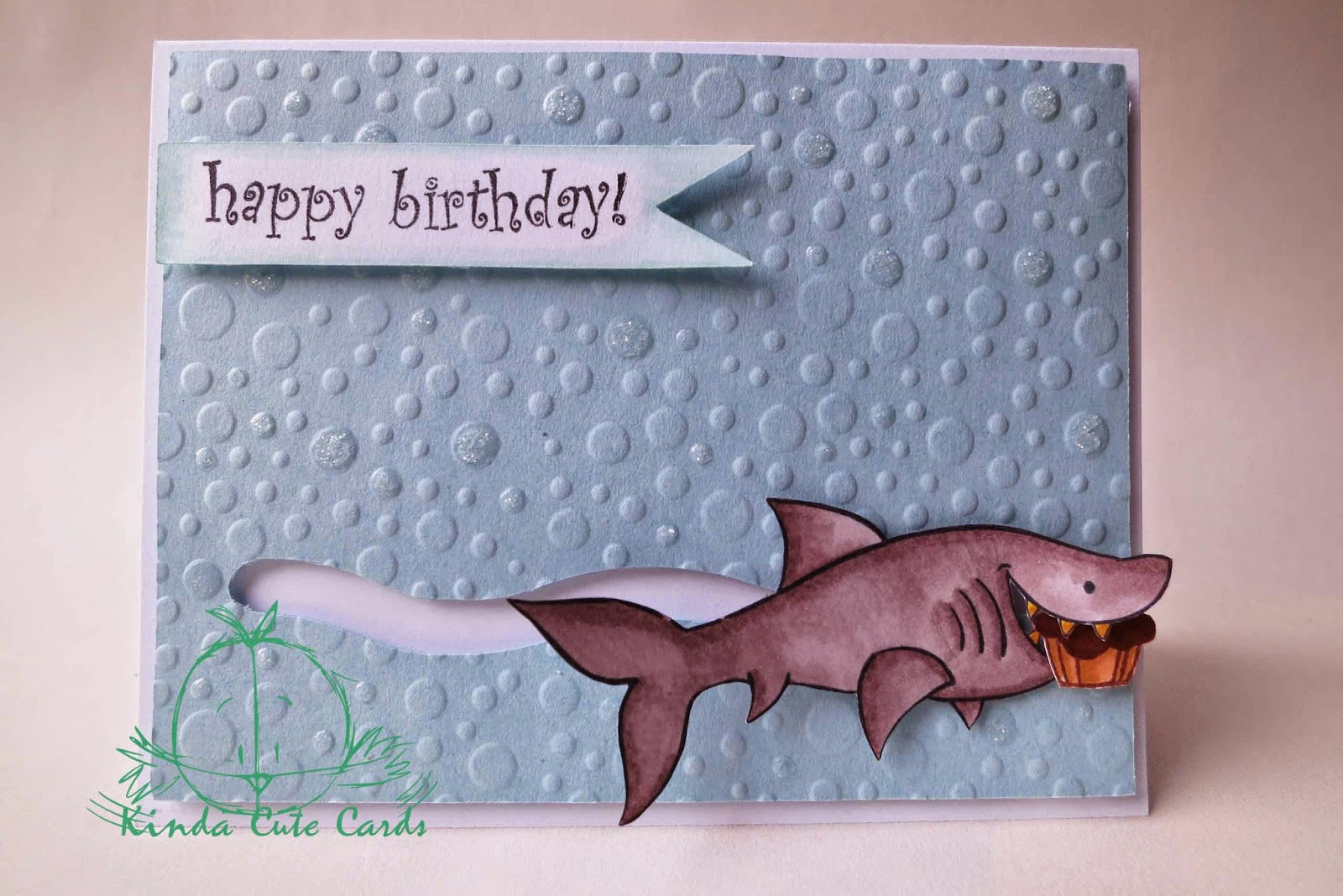 Kinda cute cards shark birthday card cardstock with my cricut machine and embossed it with the bubble embossing plate from fiskars i added some glossy accents with glitter the shark and bookmarktalkfo Gallery