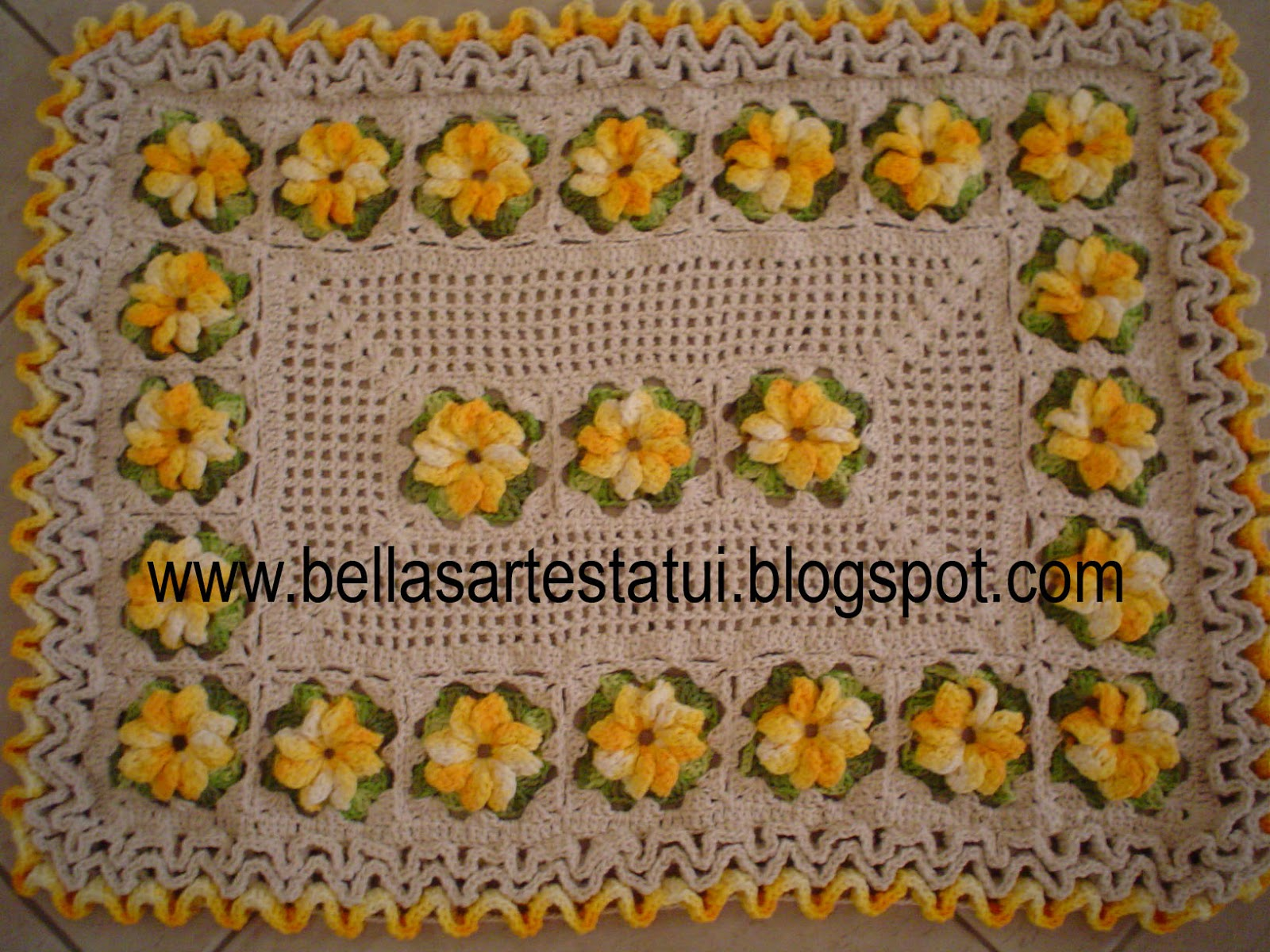 Tapete Croche 23 Flores Barbante Barroco