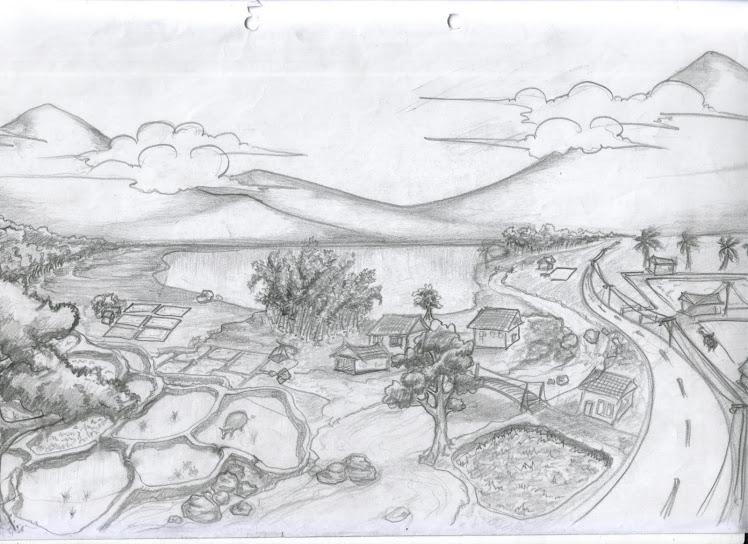 pertama kali belajar gambar pemandangan pake pensil doang ...