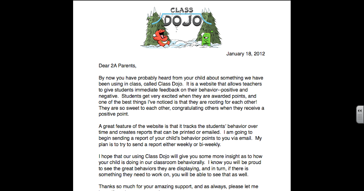 teach on class dojo parent letter