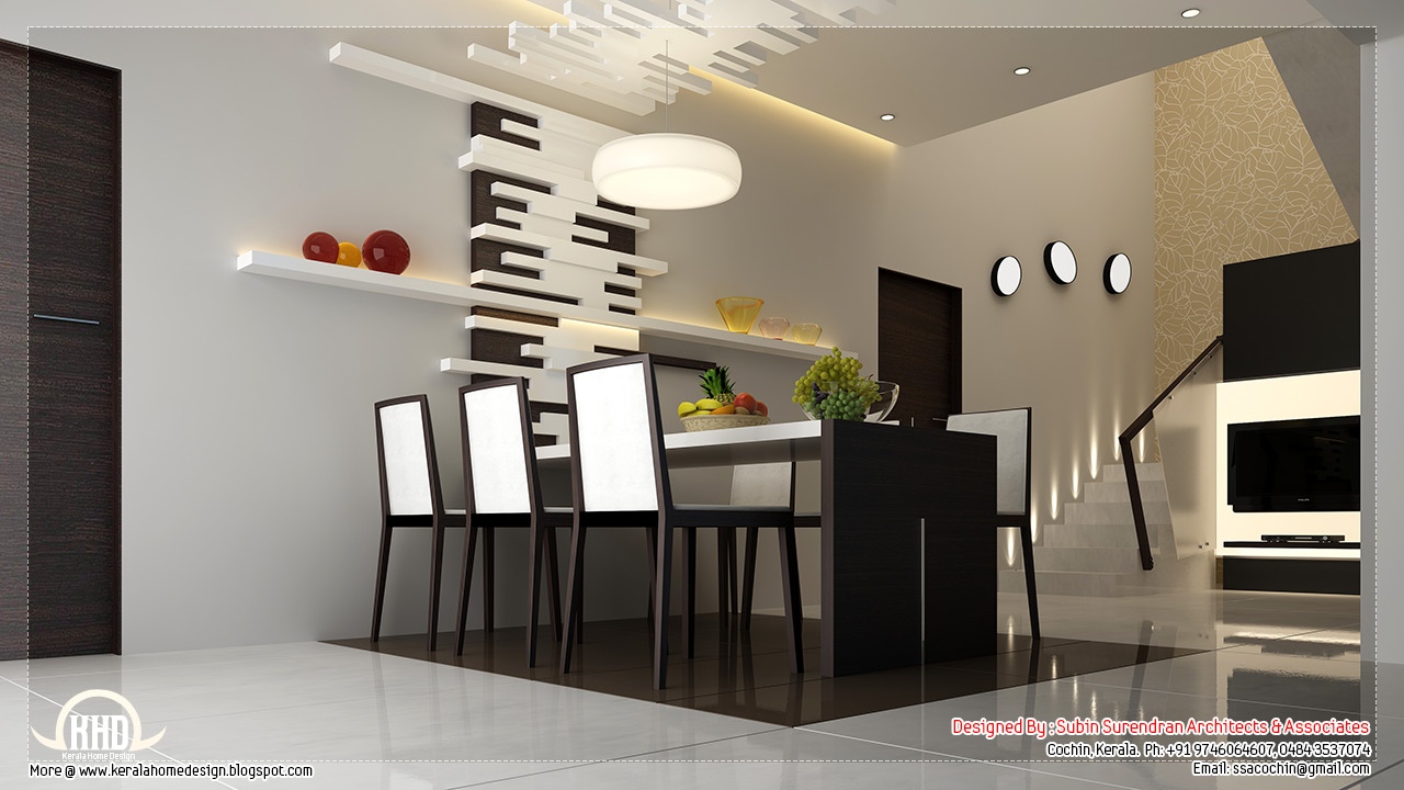 Beautiful home interior designs kerala home design and for Interior design for hall and dining room