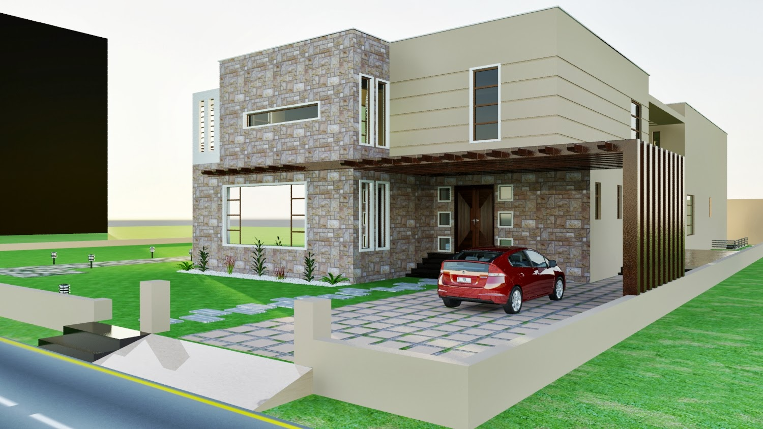 DHA KARACHI VII 3D FRONT ELEVATION + SWIMMING POOL + LANDSCAPING