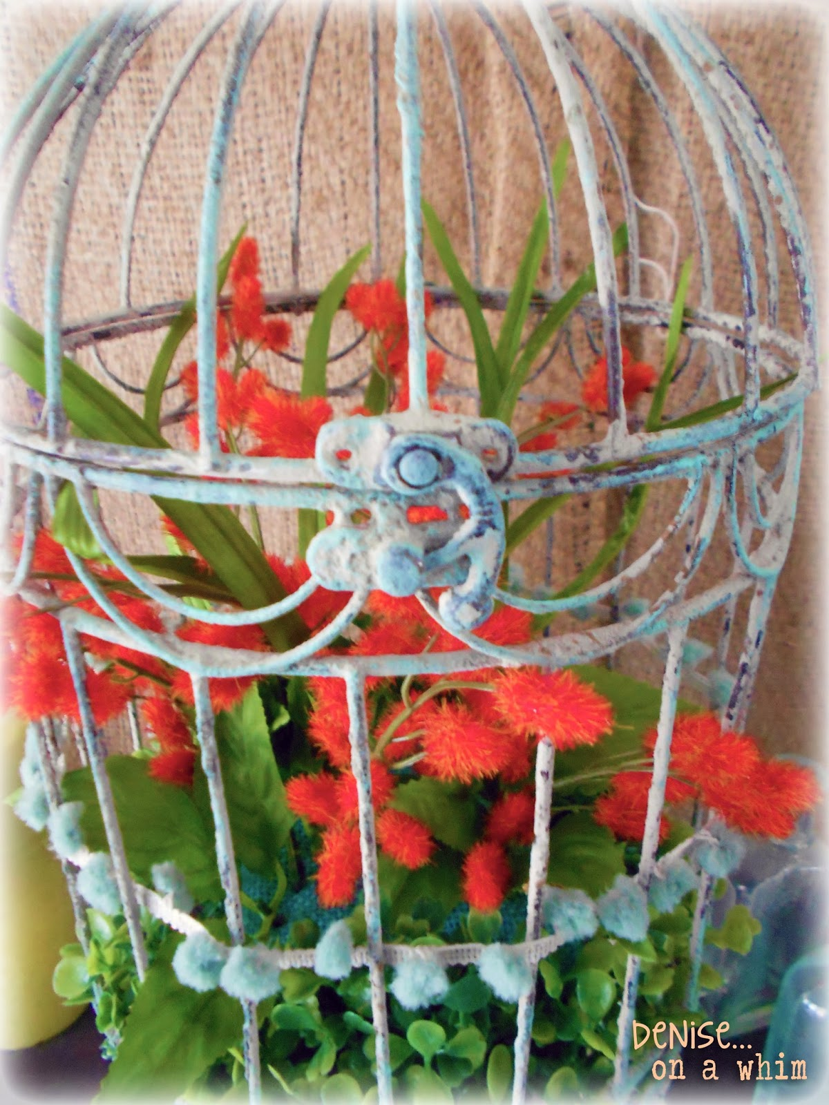 Turquoise Paint on a Shabby Birdcage via http://deniseonawhim.blogspot.com