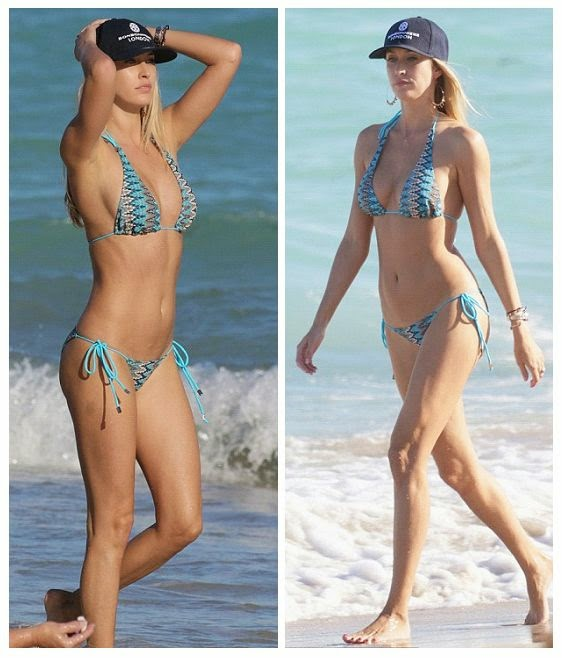 Through the sun seared, Lauren Stoner relaxed while enjoying the atmosphere of the beach by lonely at Miami on Sunday, December 6, 2014.  Wearing a blue bikini, Lauren didn't shy to showing her greatness and the 30-year-old is indeed always look festive with her perfect physique.