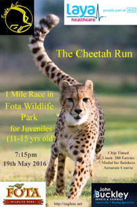 Entries for the Cheetah Run 1 mile race for Juveniles opens Thurs 5th May 2016