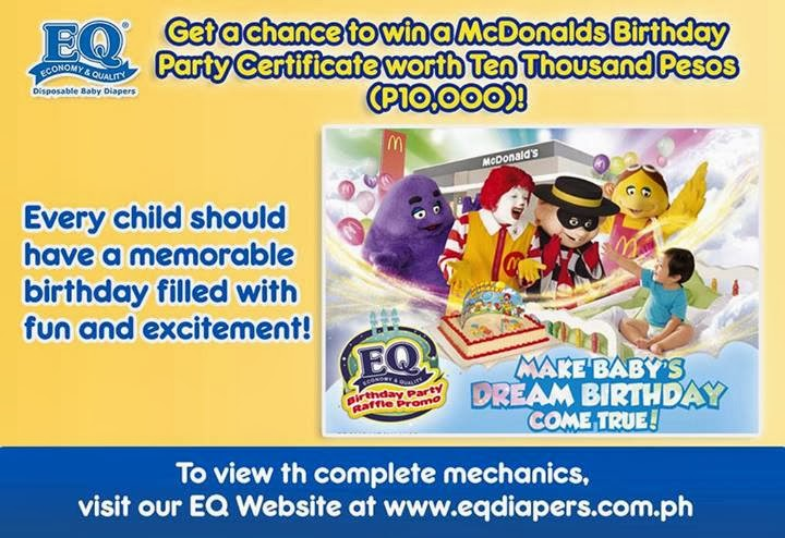 EQ Birthday Raffle Promo 2014, Philippine Freebies, Promos, Contests, EQ Diapers Mcdo promo