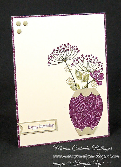 Miriam Castanho Bollinger, #mstampinwithyou, stampin up, demonstrator, ppa, birthday card, summer silhouettes, teeny tiny wishes stamp set. big shot, banner triple punch, adorning accents, park lane dsp, holiday ornaments framelits, big shot, su
