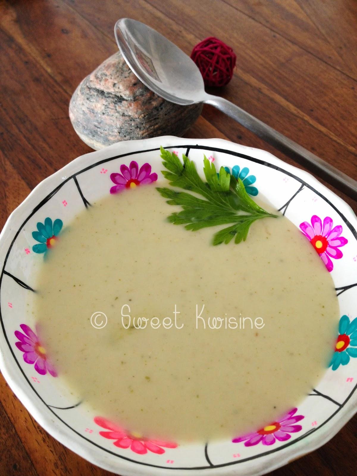 Sweet Kwisine, soupe, velouté, potage, concombre, courgette, crème, végétarien, cumin, coriandre, persil