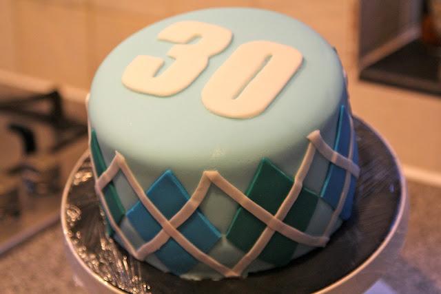 Argyle cake for 30th birthday